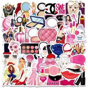 50pcs Pink Makeup Waterproof Vinyl Decal Stickers